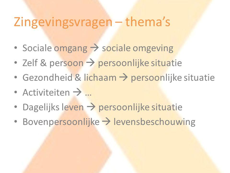 Zingevingsvragen – thema's • Sociale omgang  sociale omgeving • Zelf & persoon  persoonlijke situatie • Gezondheid & lichaam  persoonlijke situatie