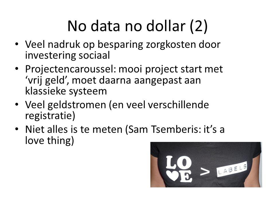 No data no dollar (2) • Veel nadruk op besparing zorgkosten door investering sociaal • Projectencaroussel: mooi project start met 'vrij geld', moet da
