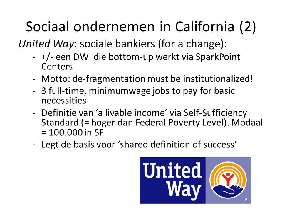 Sociaal ondernemen in California (2) United Way: sociale bankiers (for a change): -+/- een DWI die bottom-up werkt via SparkPoint Centers -Motto: de-f