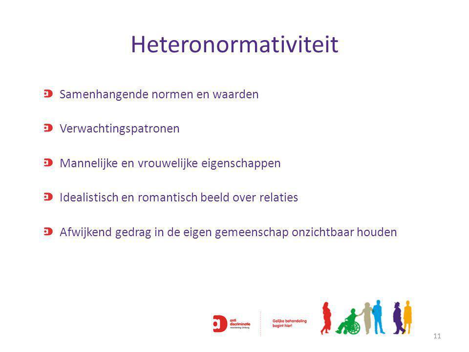 Heteronormativiteit 11 Samenhangende normen en waarden Verwachtingspatronen Mannelijke en vrouwelijke eigenschappen Idealistisch en romantisch beeld over relaties Afwijkend gedrag in de eigen gemeenschap onzichtbaar houden