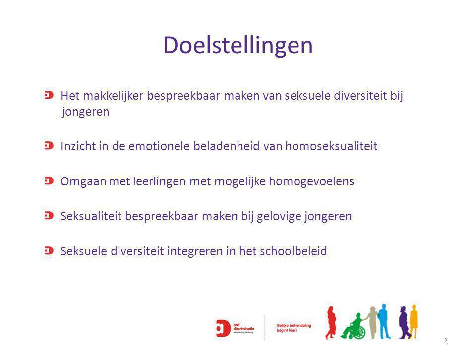 Doelstellingen 2 Het makkelijker bespreekbaar maken van seksuele diversiteit bij jongeren Inzicht in de emotionele beladenheid van homoseksualiteit Omgaan met leerlingen met mogelijke homogevoelens Seksualiteit bespreekbaar maken bij gelovige jongeren Seksuele diversiteit integreren in het schoolbeleid