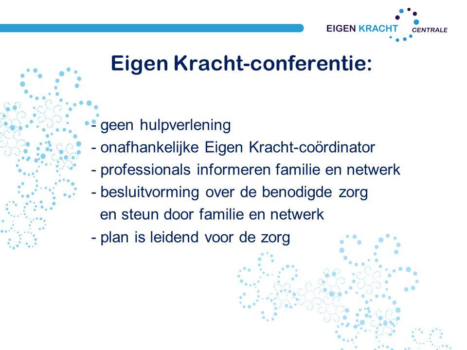 Eigen Kracht-conferentie: - geen hulpverlening - onafhankelijke Eigen Kracht-coördinator - professionals informeren familie en netwerk - besluitvormin