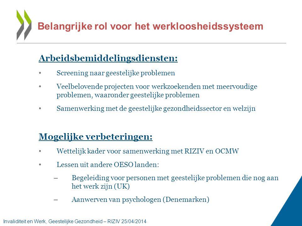 Arbeidsbemiddelingsdiensten: • Screening naar geestelijke problemen • Veelbelovende projecten voor werkzoekenden met meervoudige problemen, waaronder geestelijke problemen • Samenwerking met de geestelijke gezondheidssector en welzijn Mogelijke verbeteringen: • Wettelijk kader voor samenwerking met RIZIV en OCMW • Lessen uit andere OESO landen: – Begeleiding voor personen met geestelijke problemen die nog aan het werk zijn (UK) – Aanwerven van psychologen (Denemarken) Belangrijke rol voor het werkloosheidssysteem Invaliditeit en Werk, Geestelijke Gezondheid – RIZIV 25/04/2014