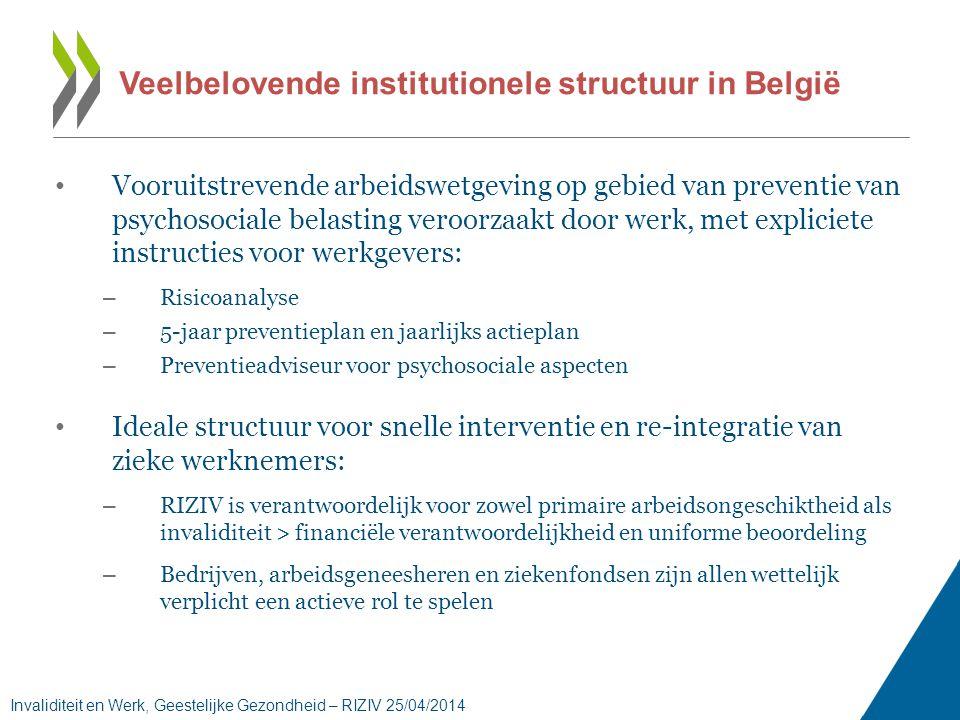 Veelbelovende institutionele structuur in België • Vooruitstrevende arbeidswetgeving op gebied van preventie van psychosociale belasting veroorzaakt door werk, met expliciete instructies voor werkgevers: – Risicoanalyse – 5-jaar preventieplan en jaarlijks actieplan – Preventieadviseur voor psychosociale aspecten • Ideale structuur voor snelle interventie en re-integratie van zieke werknemers: – RIZIV is verantwoordelijk voor zowel primaire arbeidsongeschiktheid als invaliditeit > financiële verantwoordelijkheid en uniforme beoordeling – Bedrijven, arbeidsgeneesheren en ziekenfondsen zijn allen wettelijk verplicht een actieve rol te spelen Invaliditeit en Werk, Geestelijke Gezondheid – RIZIV 25/04/2014