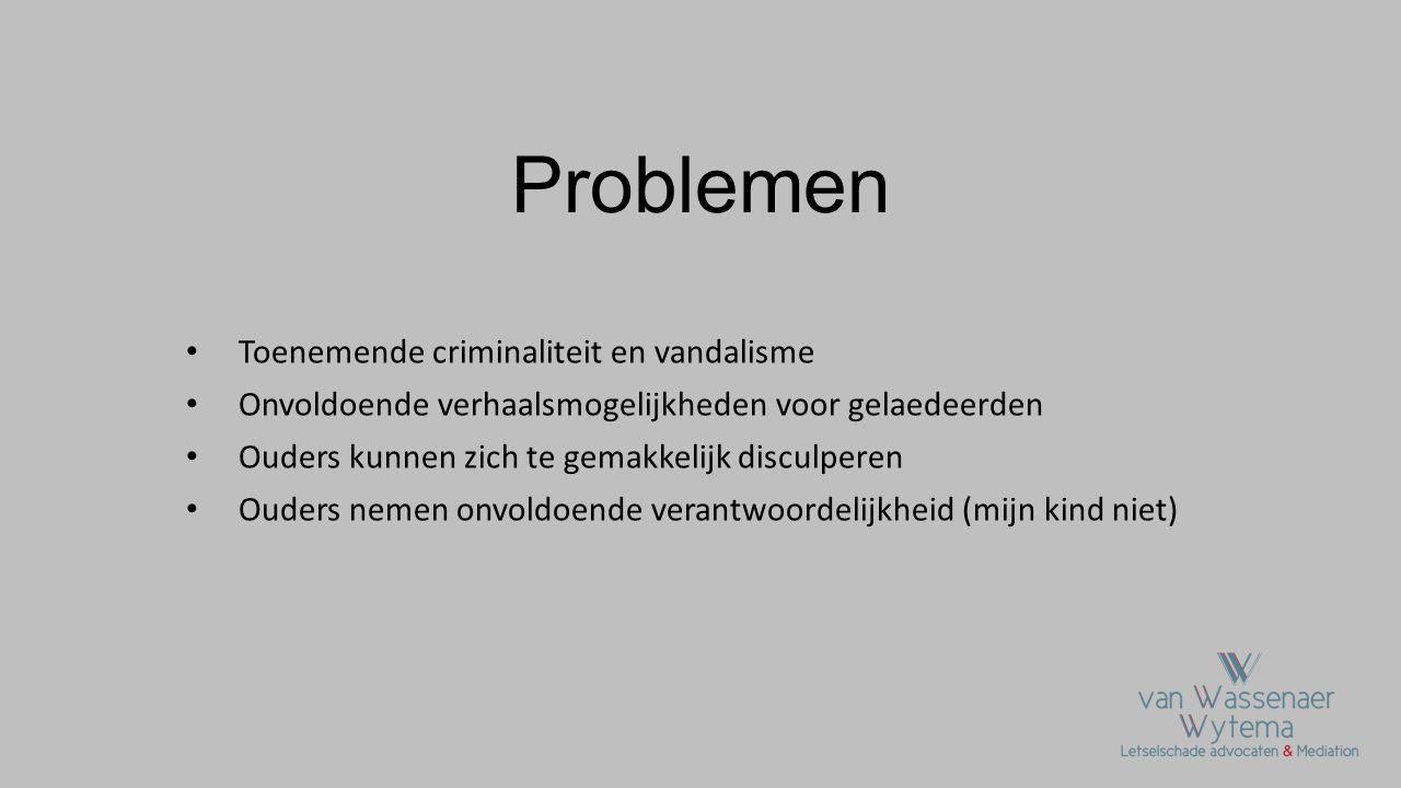 Problemen • Toenemende criminaliteit en vandalisme • Onvoldoende verhaalsmogelijkheden voor gelaedeerden • Ouders kunnen zich te gemakkelijk disculper