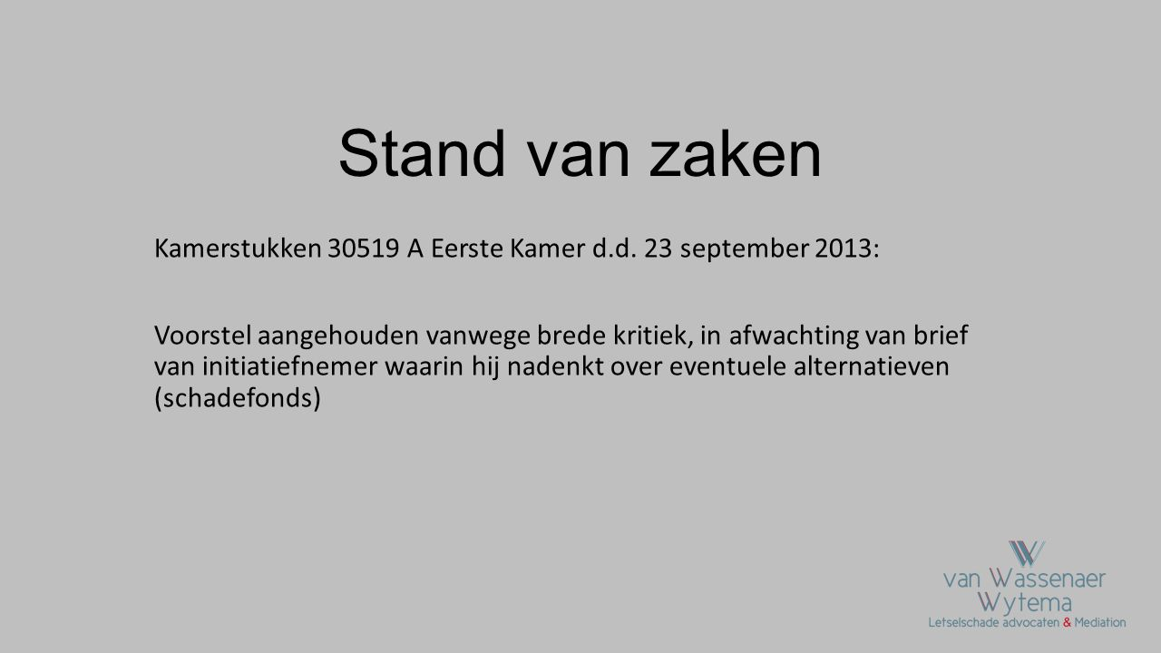 Stand van zaken Kamerstukken 30519 A Eerste Kamer d.d. 23 september 2013: Voorstel aangehouden vanwege brede kritiek, in afwachting van brief van init