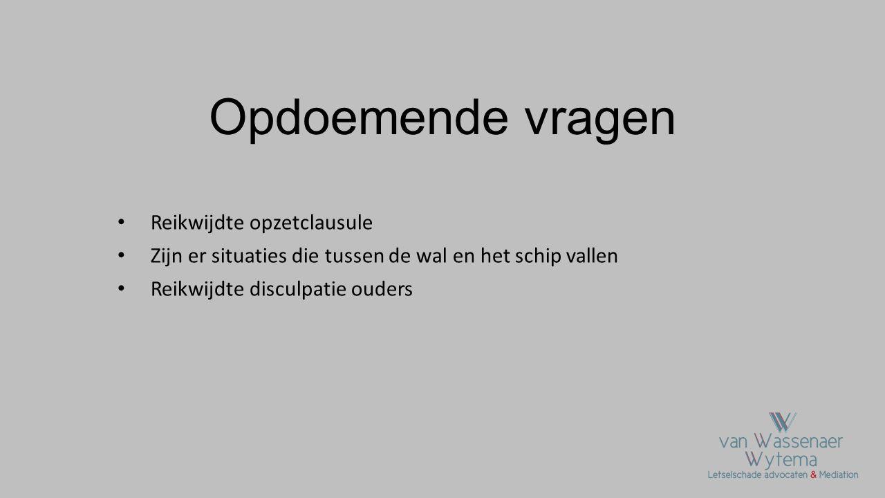 Reikwijdte opzetclausule Rechtbank Amsterdam 30 januari 2013, ECLI:NL:RBAMS:2013 BZ0489 (brandstichting door minderjarige in een schoolgebouw) Rechtbank zegt: opzet is gekoppeld aan gedraging en niet aan de gevolgen, dus verzekeraar mag opzetclausule inroepen, geen dekking