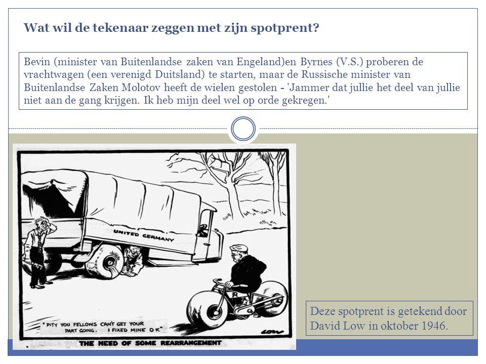 Deze spotprent is getekend door David Low in oktober 1946. Bevin (minister van Buitenlandse zaken van Engeland)en Byrnes (V.S.) proberen de vrachtwage