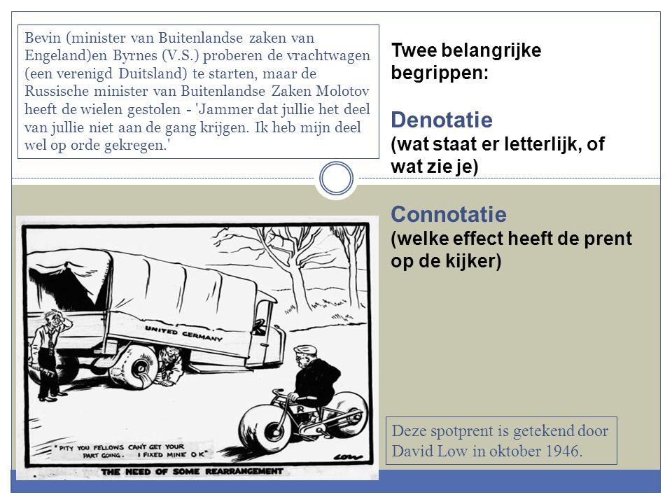 Twee belangrijke begrippen: Denotatie (wat staat er letterlijk, of wat zie je) Connotatie (welke effect heeft de prent op de kijker) Bevin (minister v
