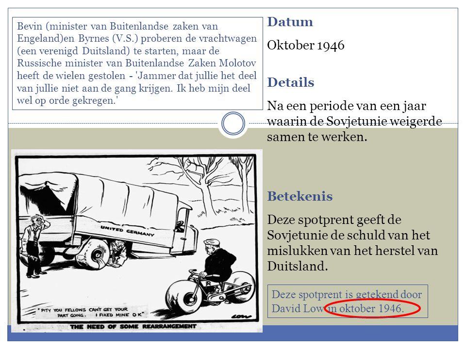 Datum Oktober 1946 Details Na een periode van een jaar waarin de Sovjetunie weigerde samen te werken. Betekenis Deze spotprent geeft de Sovjetunie de