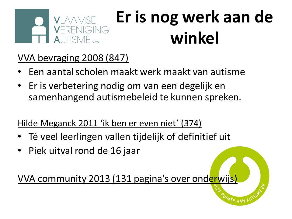 Er is nog werk aan de winkel VVA bevraging 2008 (847) • Een aantal scholen maakt werk maakt van autisme • Er is verbetering nodig om van een degelijk