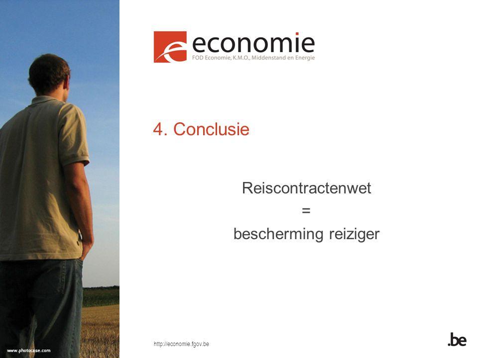 http://economie.fgov.be 4. Conclusie Reiscontractenwet = bescherming reiziger