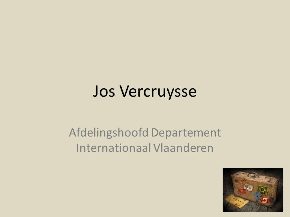 Jos Vercruysse Afdelingshoofd Departement Internationaal Vlaanderen