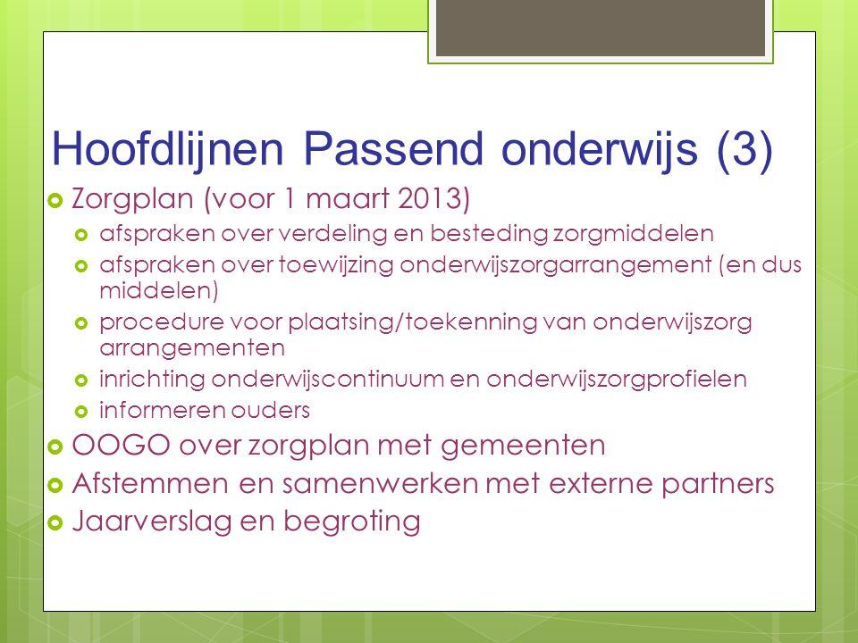 Hoofdlijnen Passend onderwijs (3)  Zorgplan (voor 1 maart 2013)  afspraken over verdeling en besteding zorgmiddelen  afspraken over toewijzing onde