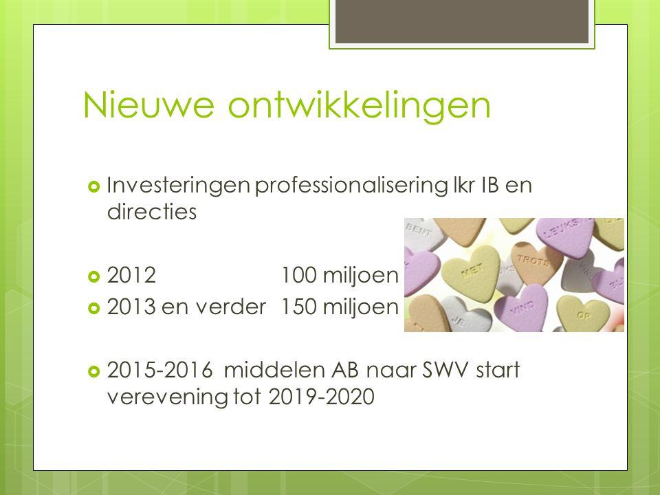 Nieuwe ontwikkelingen  Investeringen professionalisering lkr IB en directies  2012100 miljoen  2013 en verder150 miljoen  2015-2016 middelen AB naar SWV start verevening tot 2019-2020