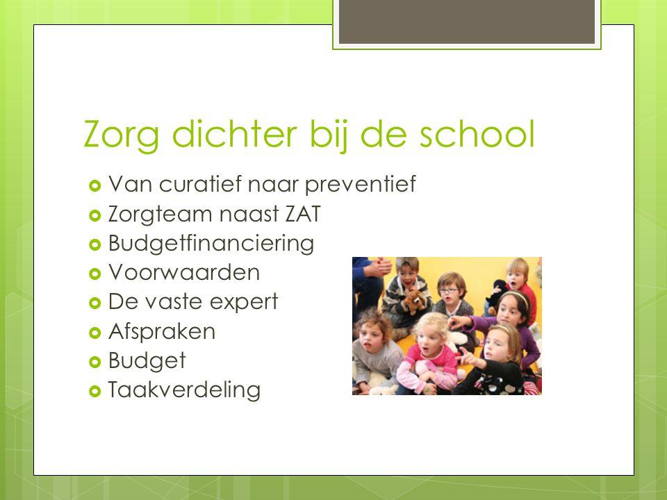 Zorg dichter bij de school  Van curatief naar preventief  Zorgteam naast ZAT  Budgetfinanciering  Voorwaarden  De vaste expert  Afspraken  Budget  Taakverdeling