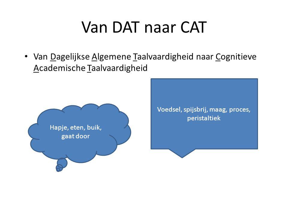 Van DAT naar CAT - schematisch DATCAT • Abstract – Over verleden en toekomst – Over daar • Nauwkeurig, specifiek • Complexere verbanden (ten gevolge van, ondanks, hoewel) • Gedachteconstructies (oorzaak-gevolg, doel- middel) • Concreet – Over nu – Over hier • Uh, dinges • Eenvoudige verbanden (omdat, maar, want) • Eenvoudige denkconstructies (tijd, plaats)