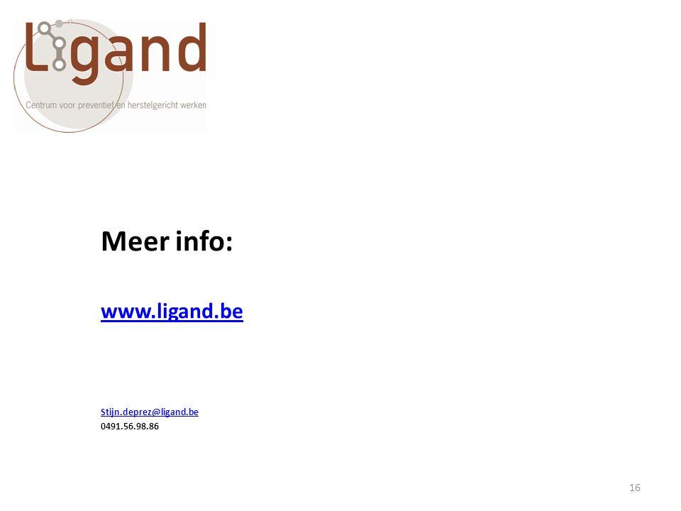 Meer info: www.ligand.be Stijn.deprez@ligand.be 0491.56.98.86 16