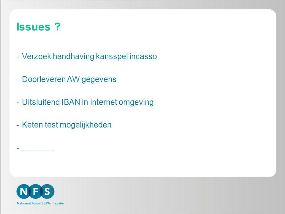 Issues ? -Verzoek handhaving kansspel incasso -Doorleveren AW gegevens -Uitsluitend IBAN in internet omgeving -Keten test mogelijkheden -………… 19