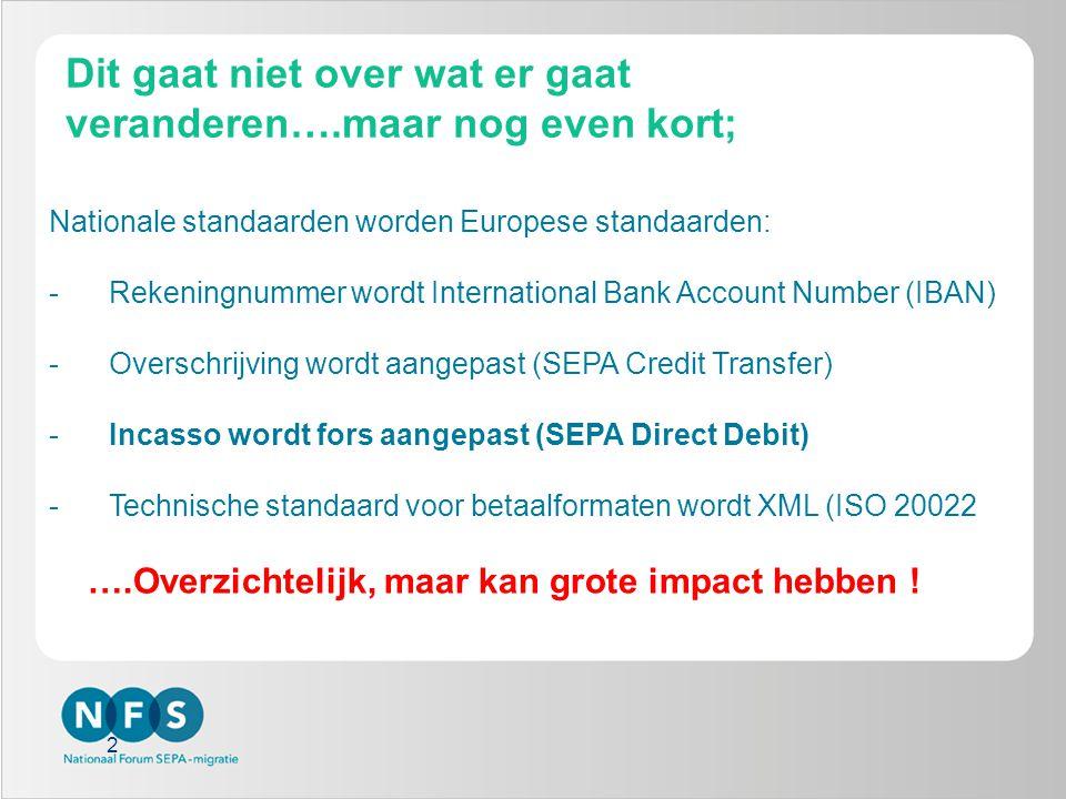 2 Dit gaat niet over wat er gaat veranderen….maar nog even kort; Nationale standaarden worden Europese standaarden: -Rekeningnummer wordt International Bank Account Number (IBAN) -Overschrijving wordt aangepast (SEPA Credit Transfer) -Incasso wordt fors aangepast (SEPA Direct Debit) -Technische standaard voor betaalformaten wordt XML (ISO 20022 ….Overzichtelijk, maar kan grote impact hebben !