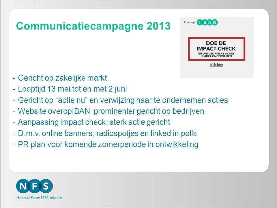 """Communicatiecampagne 2013 -Gericht op zakelijke markt -Looptijd 13 mei tot en met 2 juni -Gericht op """"actie nu"""" en verwijzing naar te ondernemen actie"""