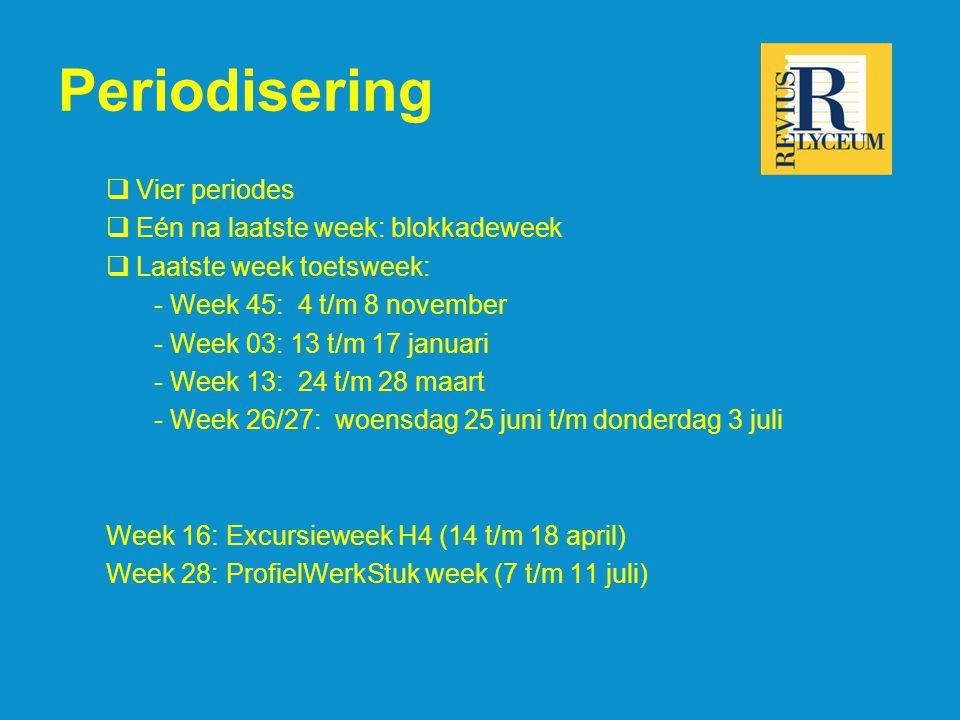 Periodisering  Vier periodes  Eén na laatste week: blokkadeweek  Laatste week toetsweek: - Week 45: 4 t/m 8 november - Week 03: 13 t/m 17 januari - Week 13: 24 t/m 28 maart - Week 26/27: woensdag 25 juni t/m donderdag 3 juli Week 16: Excursieweek H4 (14 t/m 18 april) Week 28: ProfielWerkStuk week (7 t/m 11 juli)
