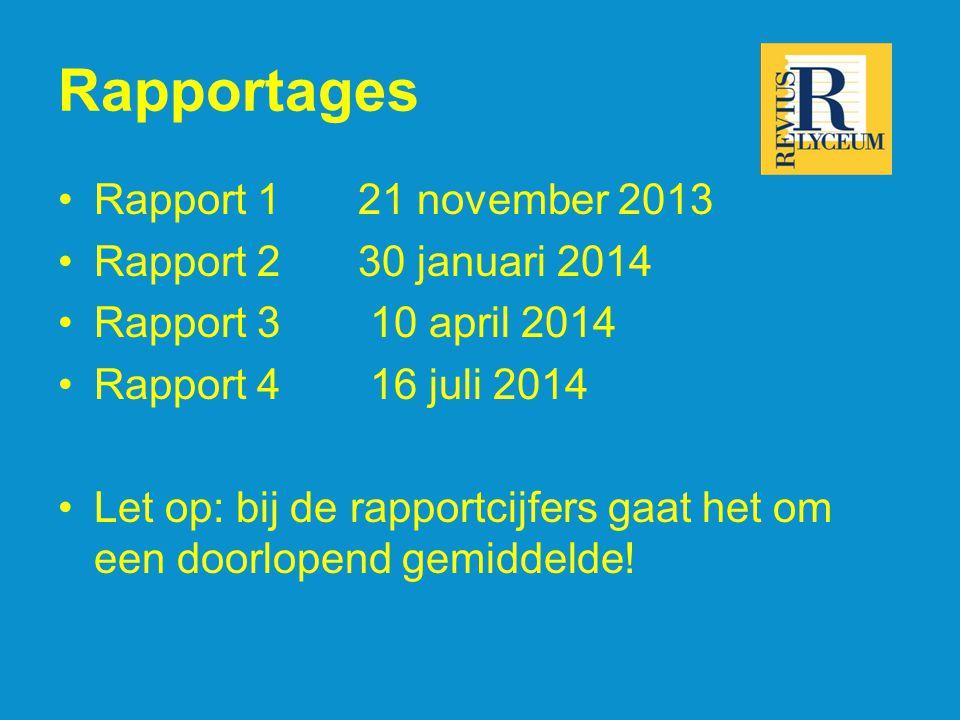 Rapportages •Rapport 1 21 november 2013 •Rapport 2 30 januari 2014 •Rapport 3 10 april 2014 •Rapport 4 16 juli 2014 •Let op: bij de rapportcijfers gaa