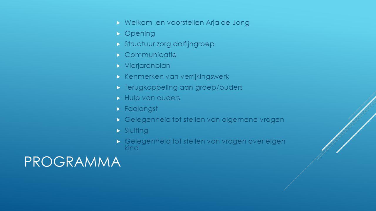 PROGRAMMA  Welkom en voorstellen Arja de Jong  Opening  Structuur zorg dolfijngroep  Communicatie  Vierjarenplan  Kenmerken van verrijkingswerk