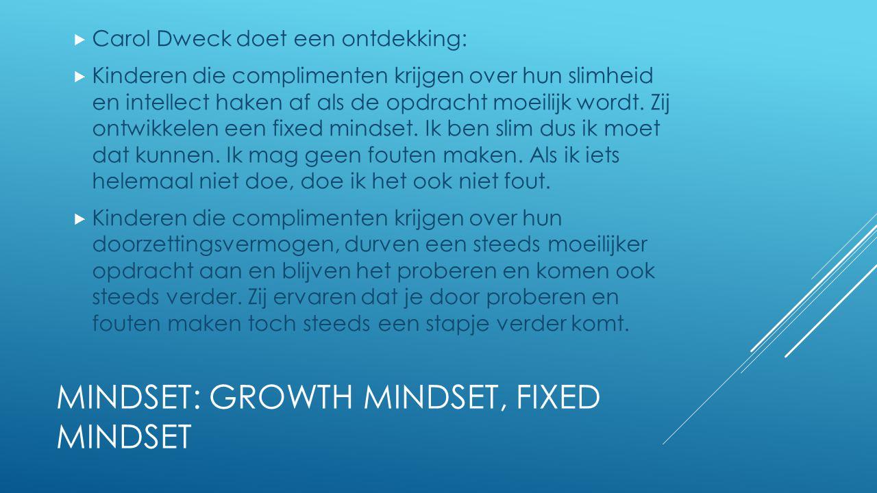 MINDSET: GROWTH MINDSET, FIXED MINDSET  Carol Dweck doet een ontdekking:  Kinderen die complimenten krijgen over hun slimheid en intellect haken af