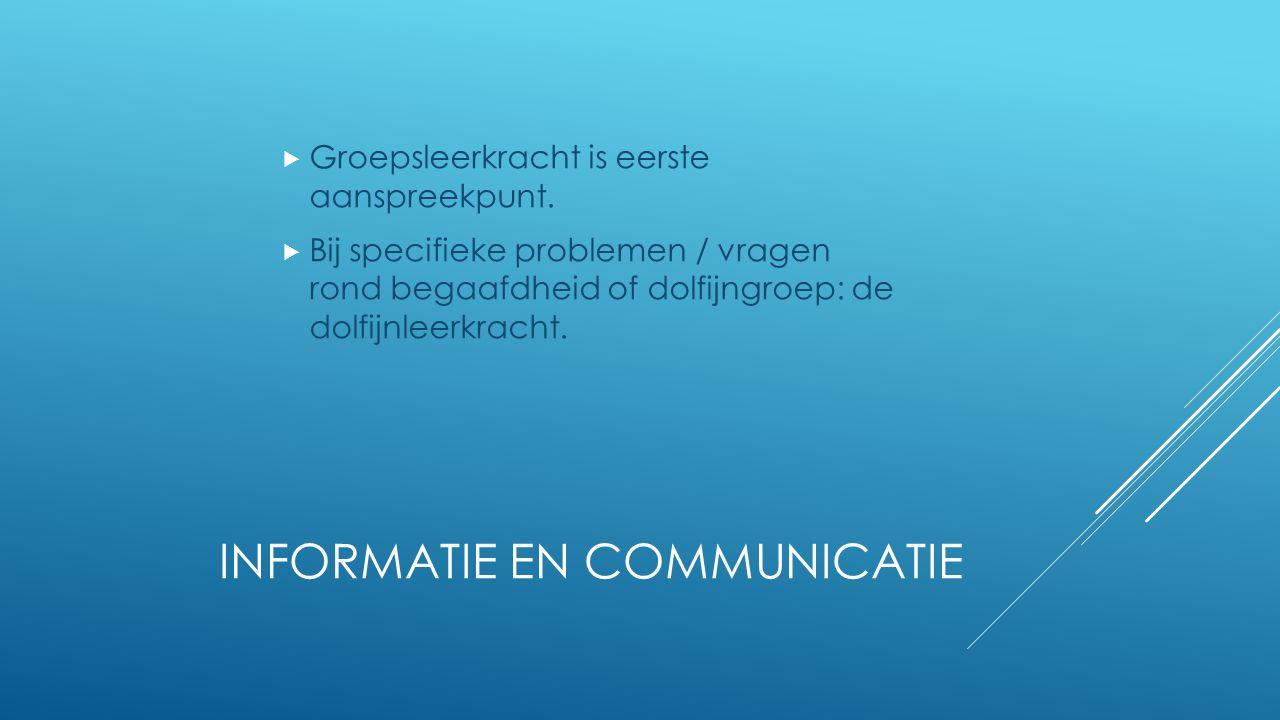 INFORMATIE EN COMMUNICATIE  Groepsleerkracht is eerste aanspreekpunt.  Bij specifieke problemen / vragen rond begaafdheid of dolfijngroep: de dolfij