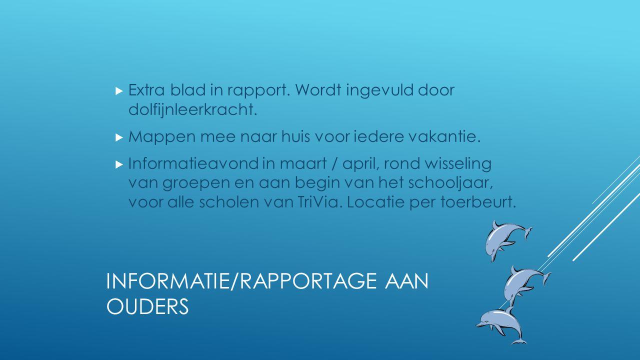 INFORMATIE/RAPPORTAGE AAN OUDERS  Extra blad in rapport. Wordt ingevuld door dolfijnleerkracht.  Mappen mee naar huis voor iedere vakantie.  Inform