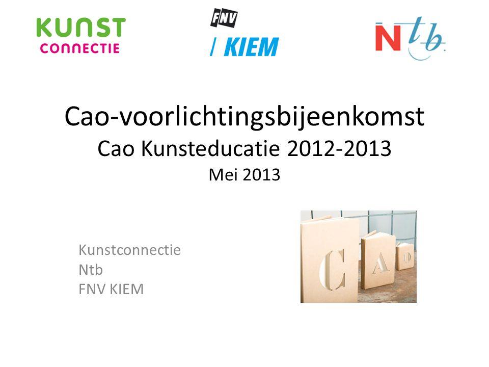 Kunstconnectie Ntb FNV KIEM Cao-voorlichtingsbijeenkomst Cao Kunsteducatie 2012-2013 Mei 2013