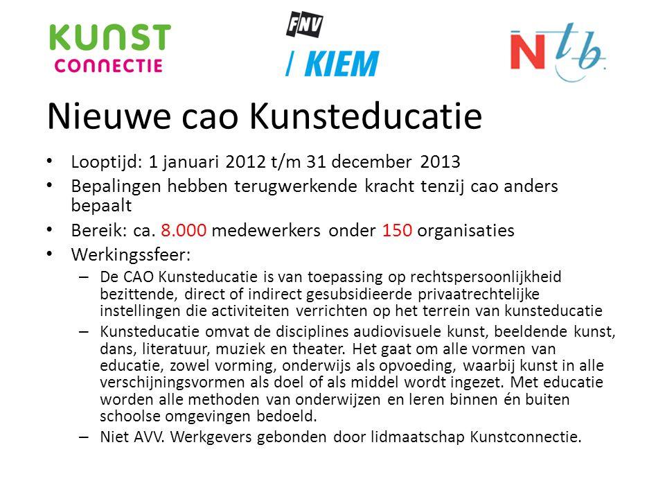 Nieuwe cao Kunsteducatie • Looptijd: 1 januari 2012 t/m 31 december 2013 • Bepalingen hebben terugwerkende kracht tenzij cao anders bepaalt • Bereik: