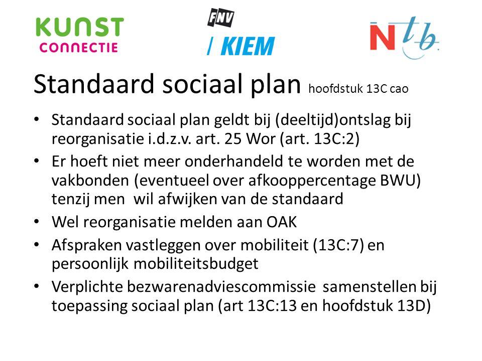 Standaard sociaal plan hoofdstuk 13C cao • Standaard sociaal plan geldt bij (deeltijd)ontslag bij reorganisatie i.d.z.v. art. 25 Wor (art. 13C:2) • Er