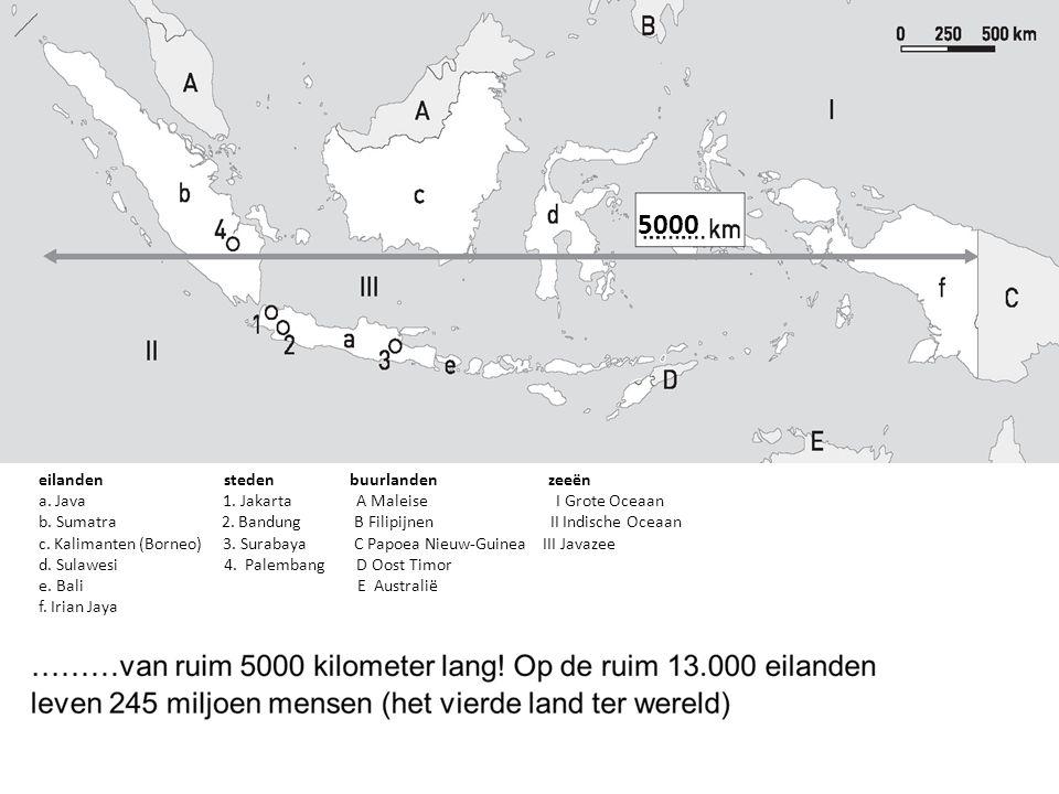 5000 eilanden steden buurlanden zeeën a.Java 1. Jakarta A Maleise I Grote Oceaan b.