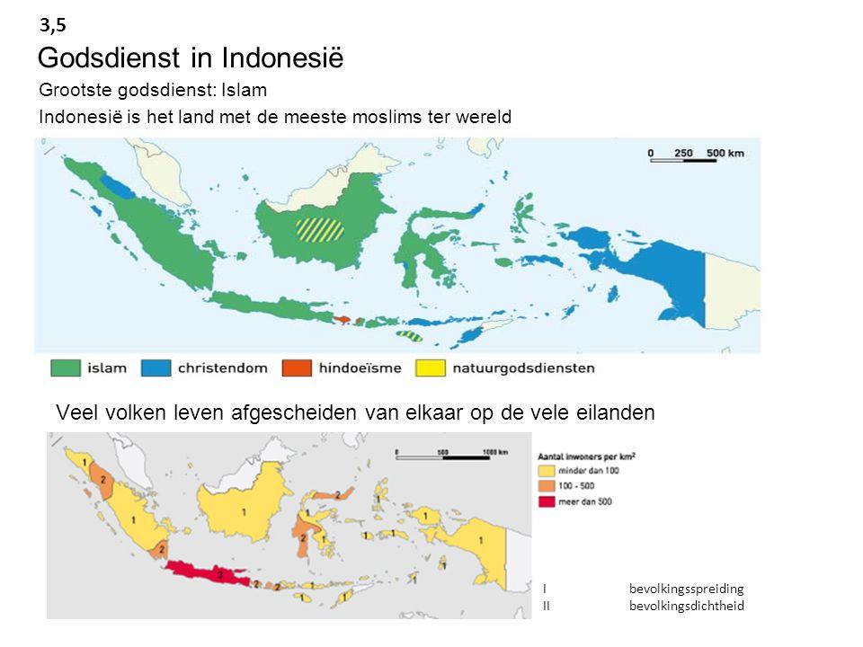 Grootste godsdienst: Islam Indonesië is het land met de meeste moslims ter wereld Godsdienst in Indonesië 3,5 Veel volken leven afgescheiden van elkaar op de vele eilanden Ibevolkingsspreiding IIbevolkingsdichtheid