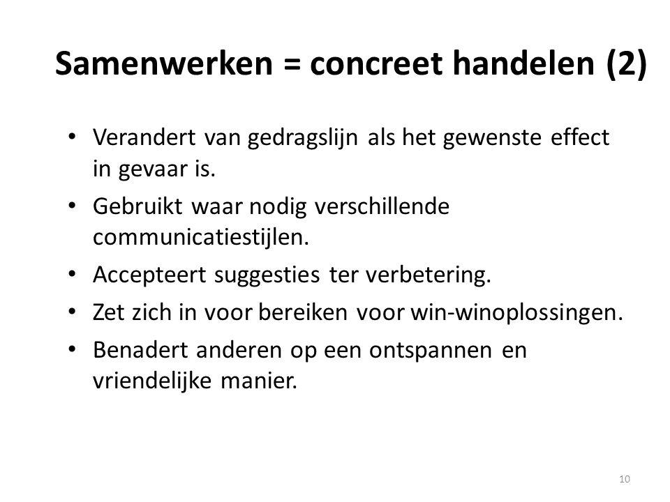 Samenwerken = concreet handelen (2) • Verandert van gedragslijn als het gewenste effect in gevaar is. • Gebruikt waar nodig verschillende communicatie