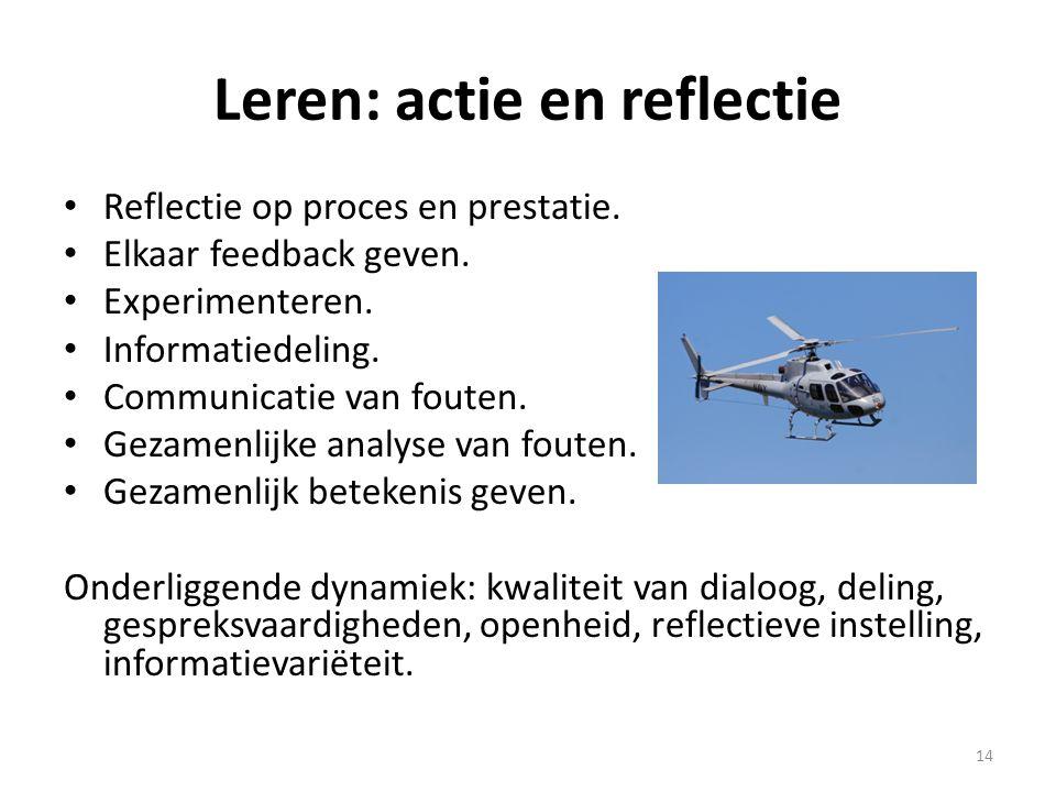 Leren: actie en reflectie • Reflectie op proces en prestatie. • Elkaar feedback geven. • Experimenteren. • Informatiedeling. • Communicatie van fouten