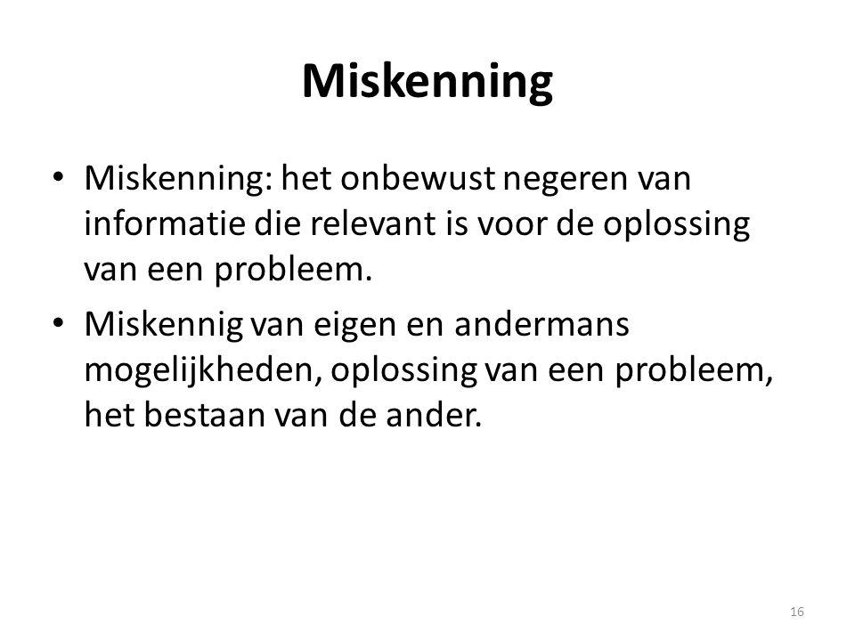 Miskenning • Miskenning: het onbewust negeren van informatie die relevant is voor de oplossing van een probleem. • Miskennig van eigen en andermans mo