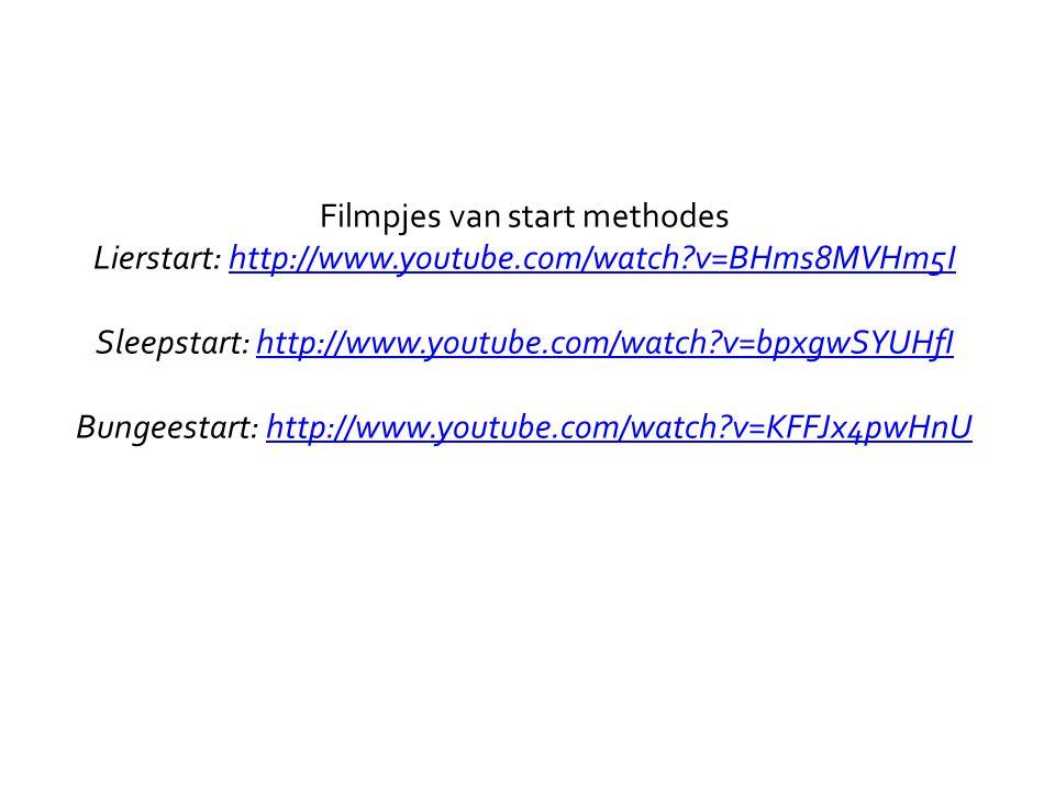 Filmpjes van start methodes Lierstart: http://www.youtube.com/watch?v=BHms8MVHm5I Sleepstart: http://www.youtube.com/watch?v=bpxgwSYUHfI Bungeestart: