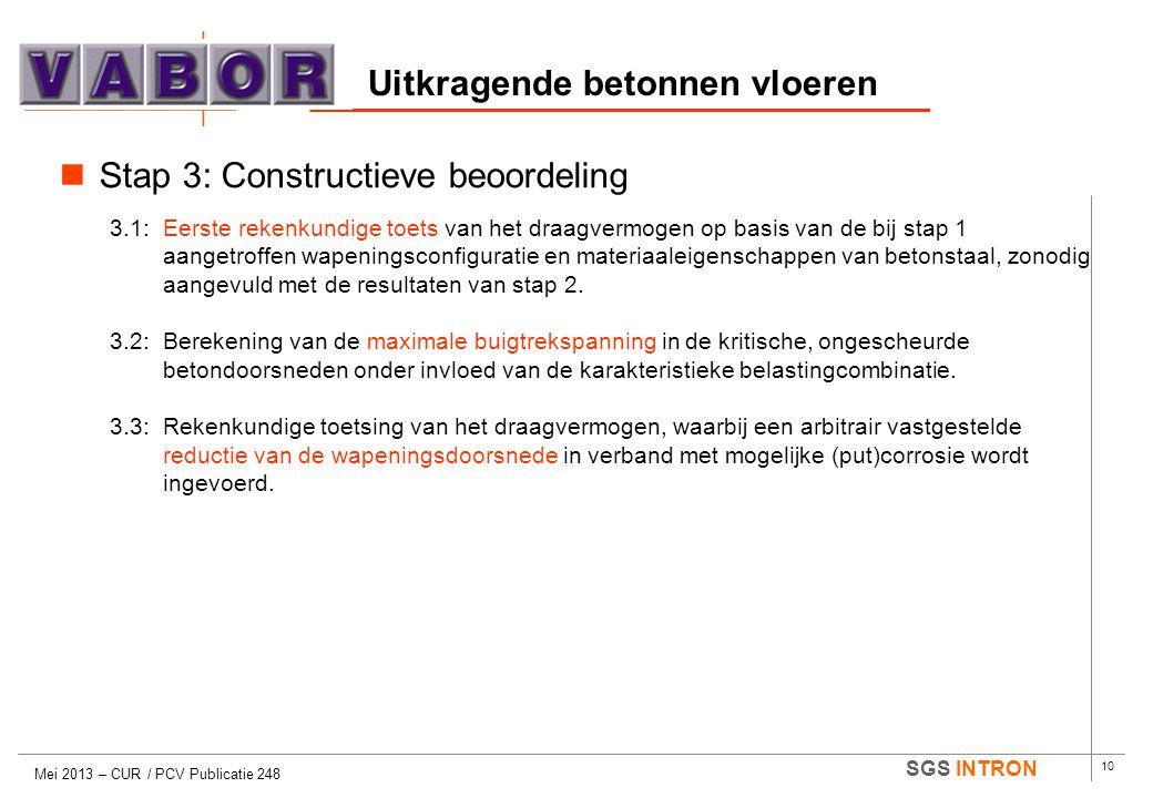 10 SGS INTRON Uitkragende betonnen vloeren Mei 2013 – CUR / PCV Publicatie 248  Stap 3: Constructieve beoordeling 3.1:Eerste rekenkundige toets van h