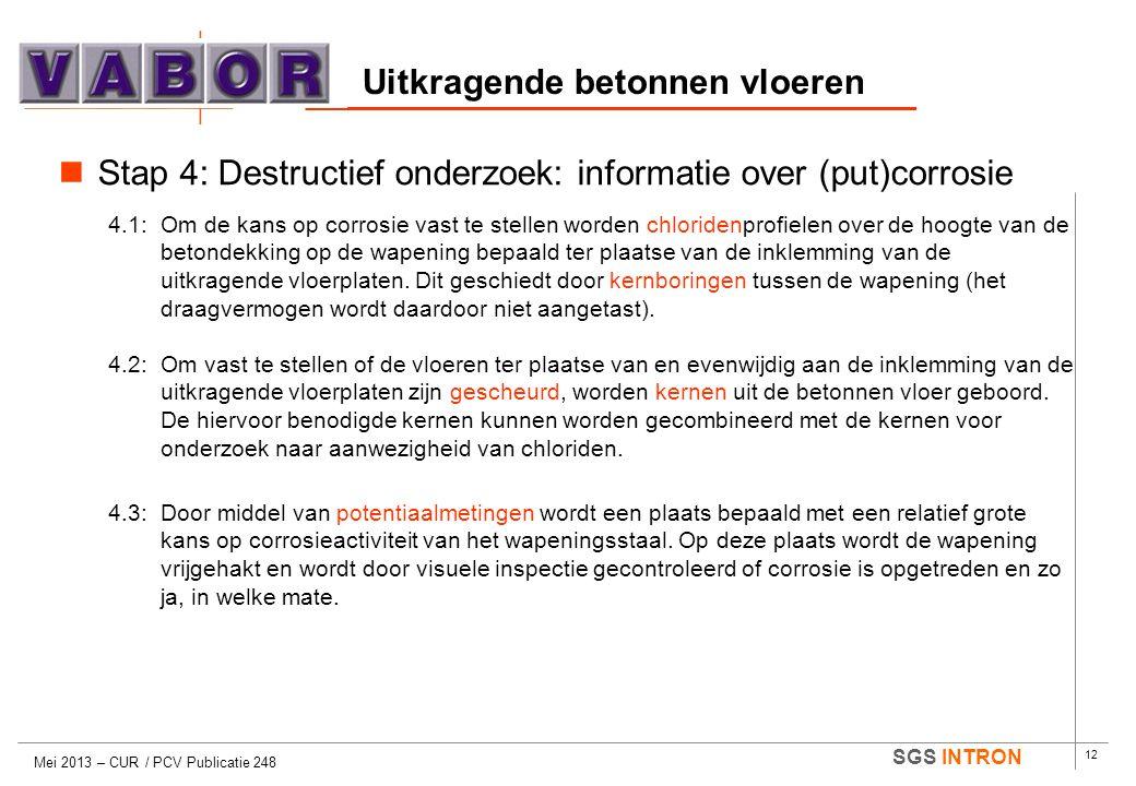 12 SGS INTRON Uitkragende betonnen vloeren Mei 2013 – CUR / PCV Publicatie 248  Stap 4: Destructief onderzoek: informatie over (put)corrosie 4.1:Om d