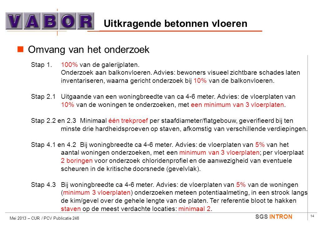 14 SGS INTRON Uitkragende betonnen vloeren Mei 2013 – CUR / PCV Publicatie 248  Omvang van het onderzoek Stap 1.100% van de galerijplaten. Onderzoek