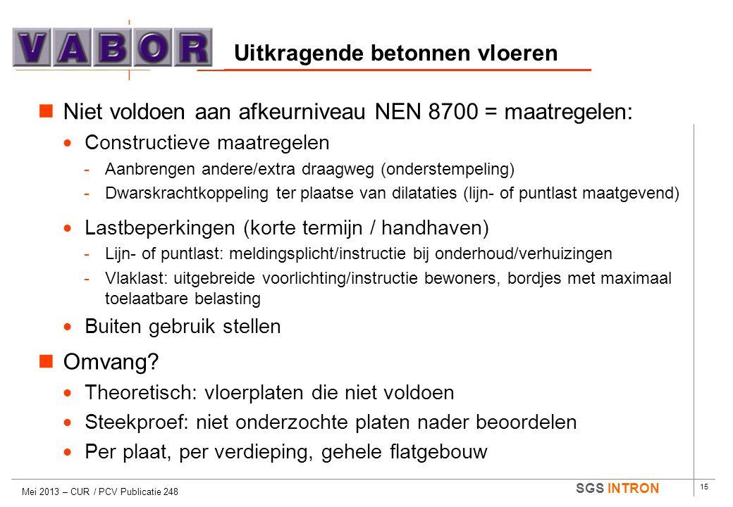 15 SGS INTRON Uitkragende betonnen vloeren Mei 2013 – CUR / PCV Publicatie 248  Niet voldoen aan afkeurniveau NEN 8700 = maatregelen:  Constructieve
