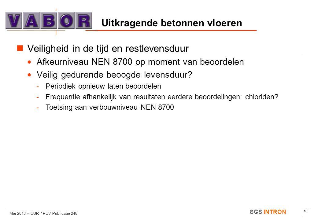 16 SGS INTRON Uitkragende betonnen vloeren Mei 2013 – CUR / PCV Publicatie 248  Veiligheid in de tijd en restlevensduur  Afkeurniveau NEN 8700 op mo