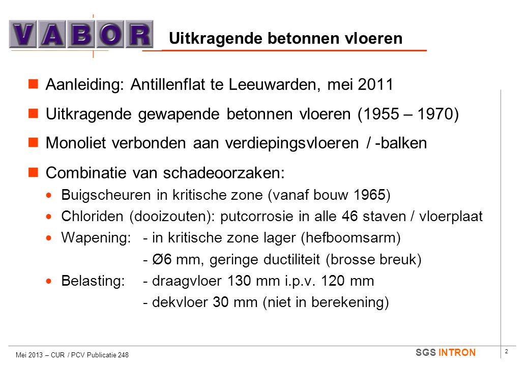 2 SGS INTRON Uitkragende betonnen vloeren Mei 2013 – CUR / PCV Publicatie 248  Aanleiding: Antillenflat te Leeuwarden, mei 2011  Uitkragende gewapen