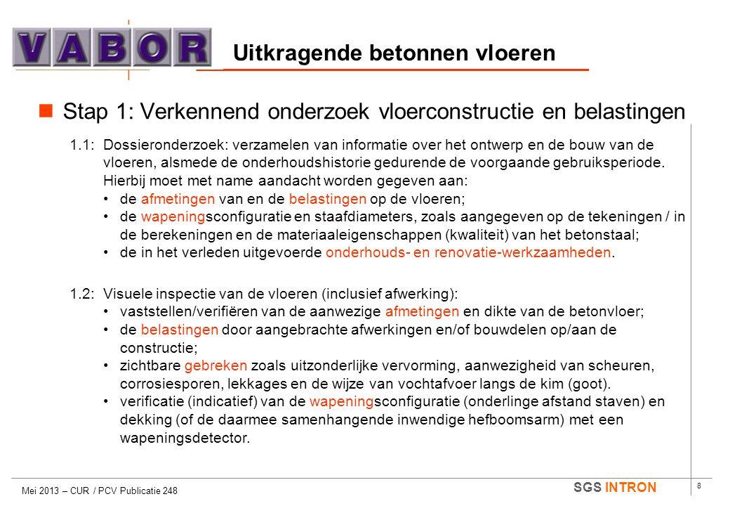8 SGS INTRON Uitkragende betonnen vloeren Mei 2013 – CUR / PCV Publicatie 248  Stap 1: Verkennend onderzoek vloerconstructie en belastingen 1.1: Doss