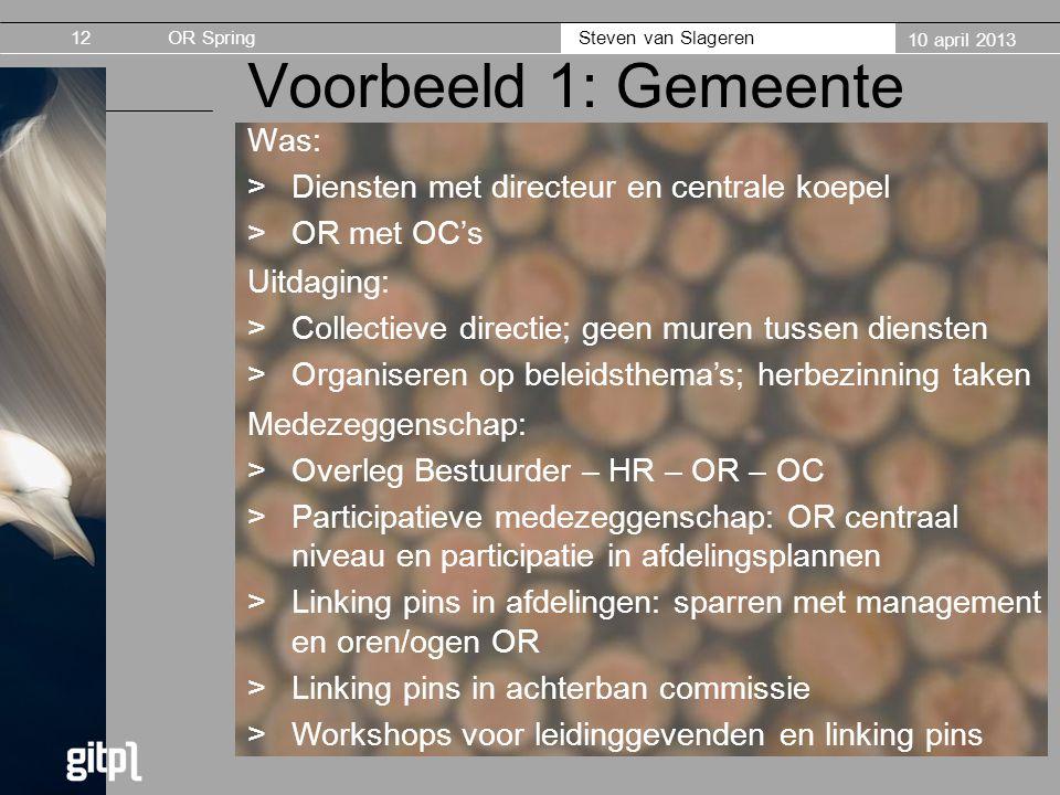 OR Spring Steven van Slageren 10 april 2013 Voorbeeld 1: Gemeente Was: >Diensten met directeur en centrale koepel >OR met OC's 12 Uitdaging: >Collecti