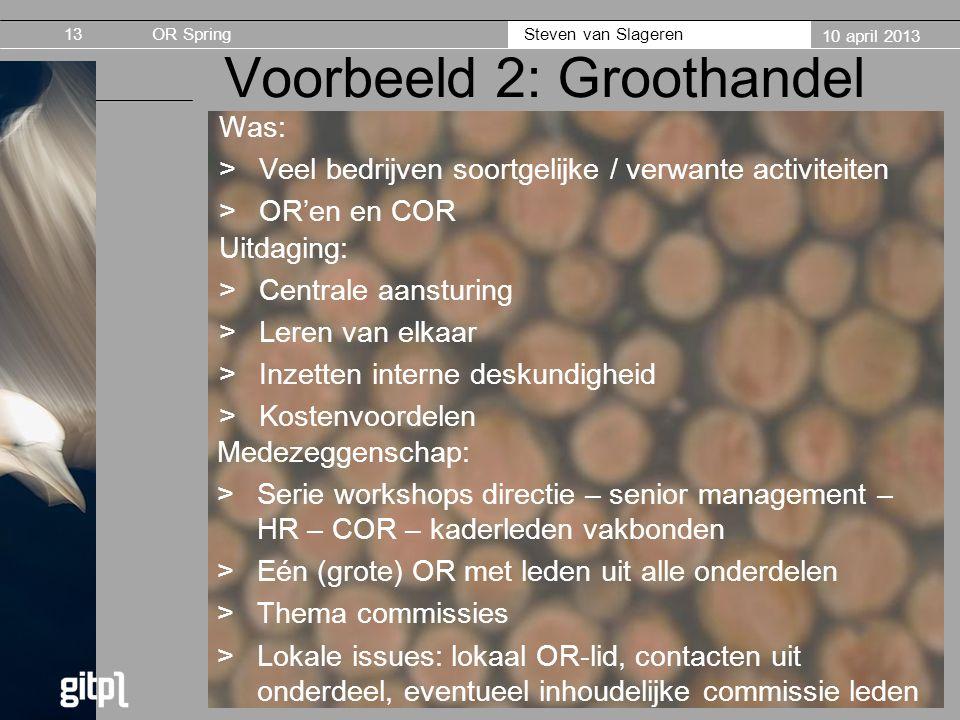 OR Spring Steven van Slageren 10 april 2013 Voorbeeld 2: Groothandel Was: >Veel bedrijven soortgelijke / verwante activiteiten >OR'en en COR 13 Uitdag