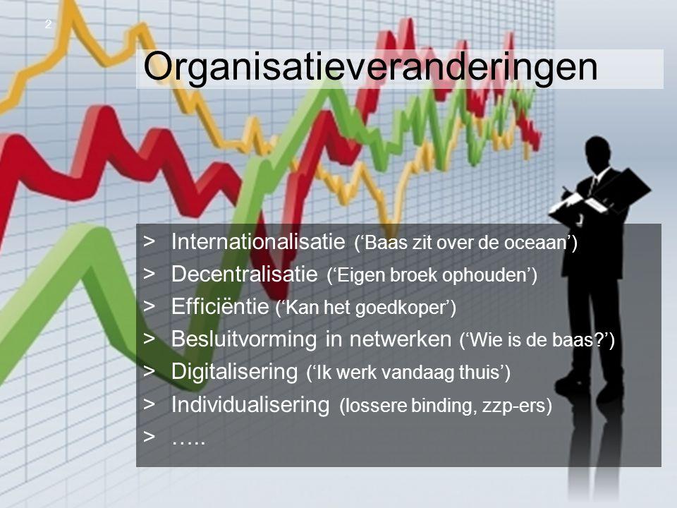 OR Spring Steven van Slageren 10 april 2013 Organisatieveranderingen >Internationalisatie ('Baas zit over de oceaan') >Decentralisatie ('Eigen broek o